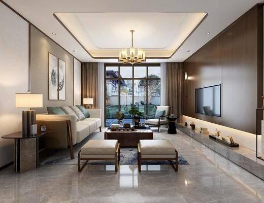新中式客餐厅, 新中式客厅, 中式客餐厅, 中式客厅, 客厅, 餐厅, 客餐厅