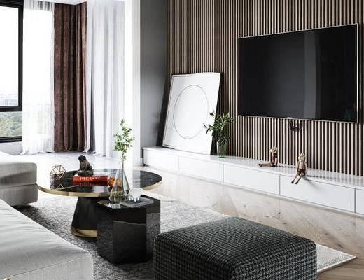 沙发组合, 茶几, 电视柜, 摆件组合
