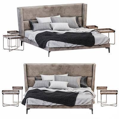 现代卧室床具, 双人床, 床头柜