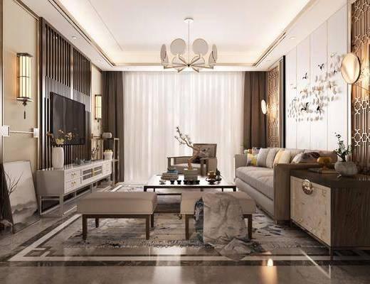客厅, 新中式客厅, 沙发组合, 沙发凳, 电视柜, 摆件, 墙饰, 单椅, 壁灯, 吊灯, 新中式