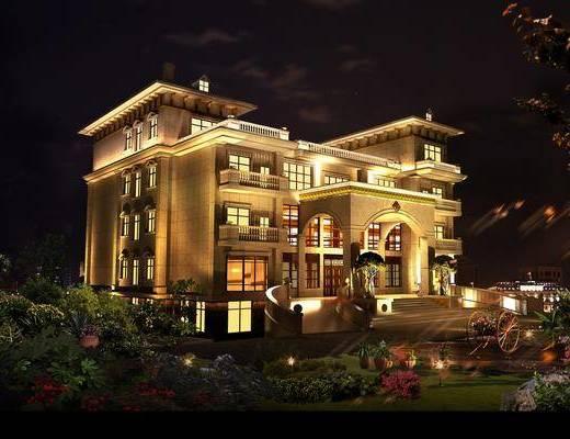 别墅, 夜景, 建筑, 欧式