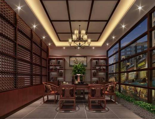 茶室, 茶桌, 单人椅, 装饰架, 摆件, 装饰品, 陈设品, 吊灯, 盆栽, 茶具, 中式