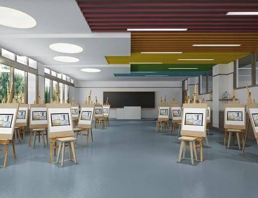 绘画室, 画架, 美术教室, 现代