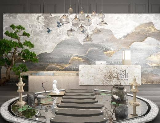 背景墙, 云朵, 大理石, 接待台, 前台, 收银台, 吊灯组合, 绿植植物, 新中式