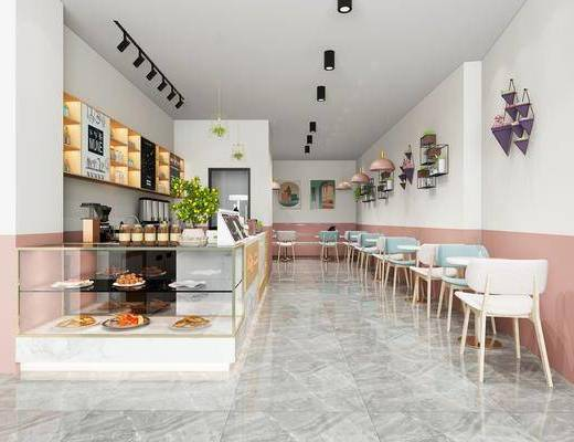 奶茶店, 桌椅组合, 墙饰, 射灯