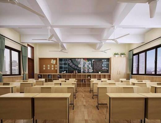 现代, 课室, 桌子, 椅子, 黑板, 风扇