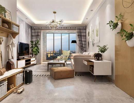 沙发组合, 落地灯, 挂画, 单椅, 茶几, 电视柜, 植物