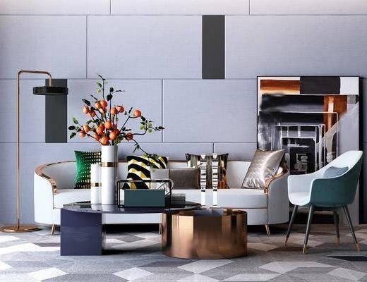 现代沙发茶几组合, 多人沙发, 茶几, 盆栽, 现代, 落地灯