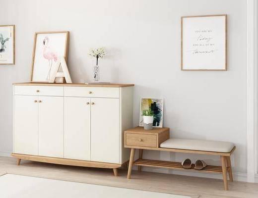 鞋柜鞋凳, 边柜, 装饰画, 北欧