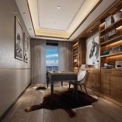 书房, 装饰画, 挂画, 装饰柜, 书籍, 摆件, 书桌, 单人椅, 后现代