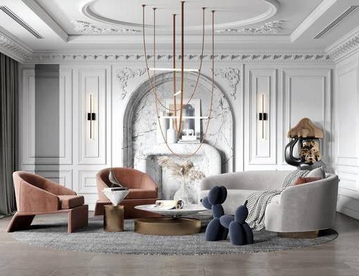 沙发组合, 背景墙, 吊灯, 单椅, 壁灯, 茶几