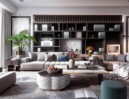 沙发组合, 茶几, 抱枕, 植物, 摆件组合, 置物柜