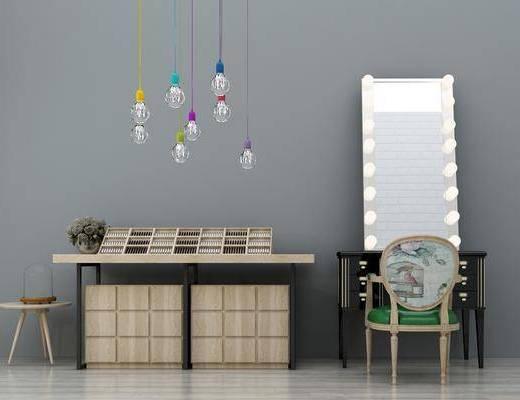 梳妆台, 化妆台, 装饰柜, 灯泡多头, 吊灯组合, 边柜, 单人椅, 装饰镜, 工业风