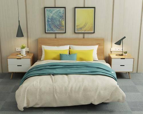 双人床, 床头柜, 吊灯, 装饰画, 台灯, 摆件, 挂画, 北欧