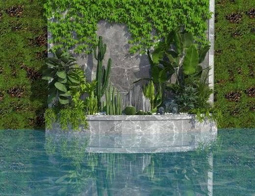 植物墙, 绿植, 假山