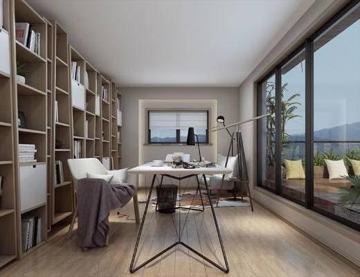 书桌, 柜子, 文件柜, 植物, 单椅