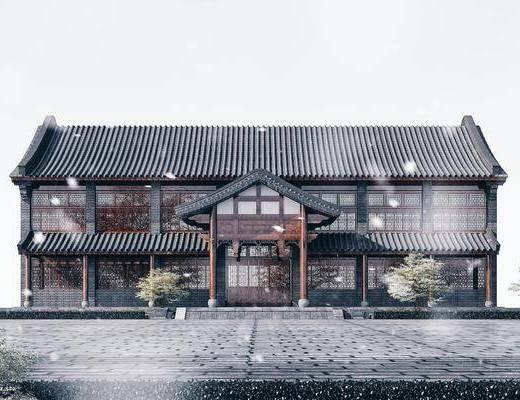 青瓦青砖白墙, 双坡顶, 商业楼, 工业厂房
