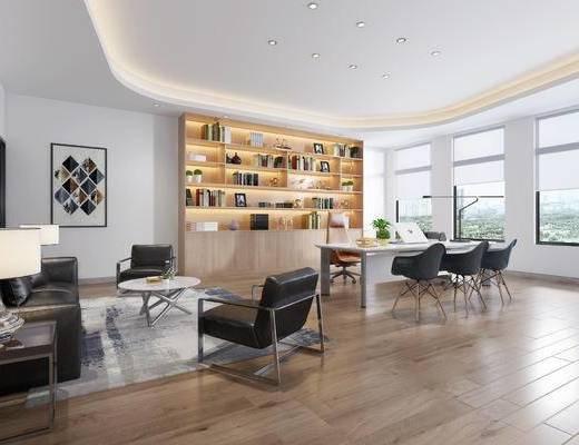 办公室, 沙发组合, 茶几, 装饰画