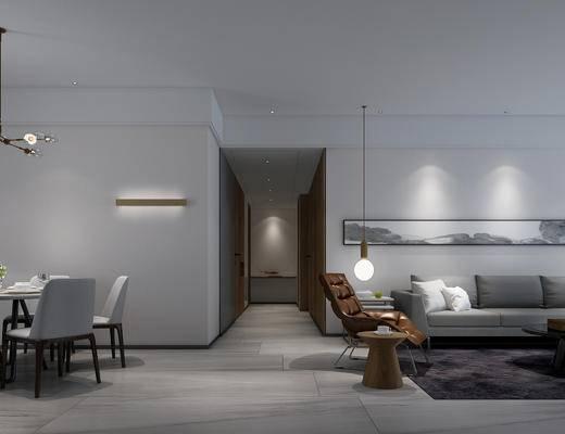 现代, 简约客厅, 客厅, 现代沙发, 书房