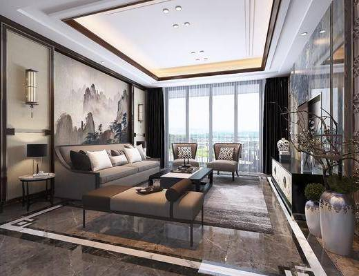 客厅, 多人沙发, 茶几, 单人沙发, 躺椅, 边几, 台灯, 壁灯, 电视柜, 边柜, 花瓶, 盆栽, 绿植植物, 干树枝, 新中式