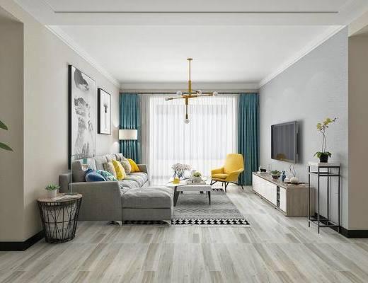 现代, 北欧, 客厅, 沙发组合, 转角沙发, 多人沙发, 茶几, 电视柜, 单椅, 休闲椅