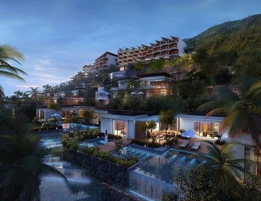 酒店别墅, 水景庭院, 树木, 绿植植物, 水池, 门面门头, 人物, 现代