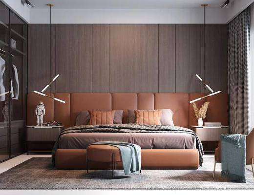 双人床, 衣柜, 吊灯, 地毯, 床头柜