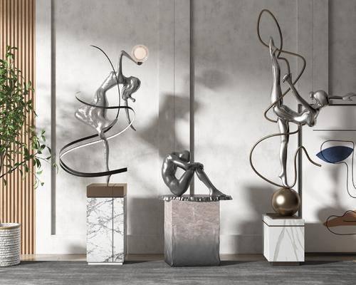 现代, 雕塑, 摆件, 组合