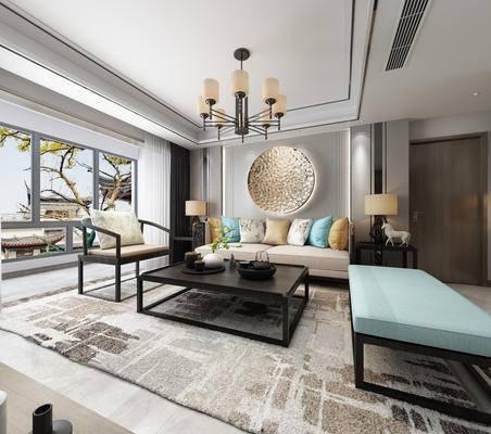中式客厅, 客厅, 中式沙发, 沙发组合, 中式吊灯, 椅子