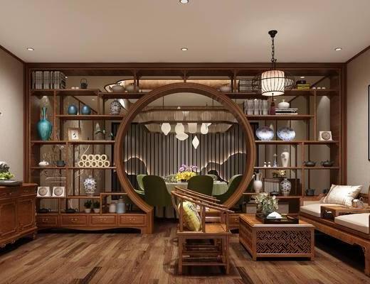松树, 吊灯, 餐桌椅, 博古架, 沙发组合