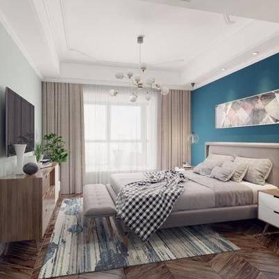 卧室, 双人床, ?#39184;?#26588;, 吊灯, 装饰画, 电视柜, 边柜, 床尾凳, 盆栽, 绿植植物, 北欧