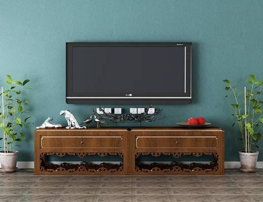 电视柜, 摆件组合, 植物, 盆栽