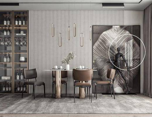 餐桌椅, 吊灯, 挂画, 酒柜, 雕塑
