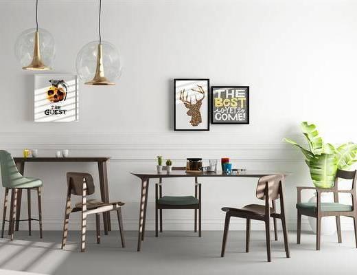 餐厅, 餐桌, 吧台, 吧椅, 单人椅, 盆栽, 吊灯, 北欧