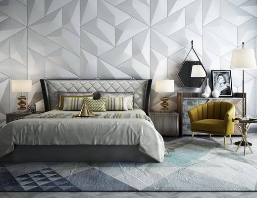 床, 床头柜组合, 落地灯, 椅子, 单人椅, 现代