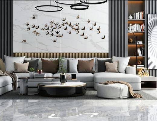 现代, 沙发组合, 茶几, 吊灯, 沙发凳