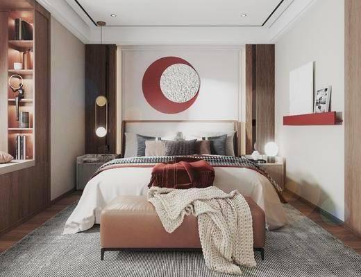 现代, 卧室, 双人床, 床头柜, 地毯, 墙饰