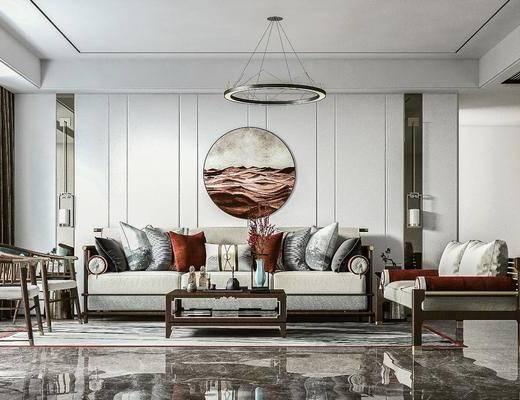 客厅, 家装, 新中式