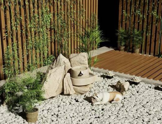 中式, 假山, 狗, 竹子, 盆栽, 石头