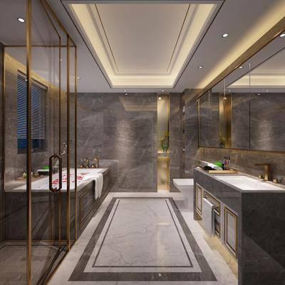 卫生间, 洗手台, 浴缸, 装饰镜, 马桶, 现代轻奢