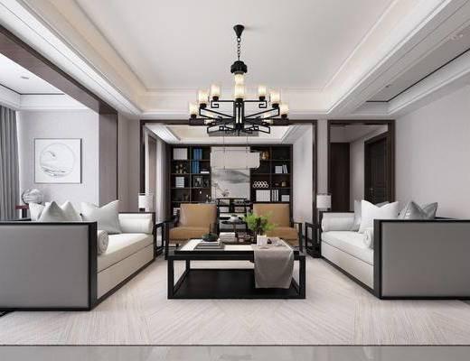 客厅, 中式客厅, 中式沙发, 茶几, 中式吊灯, 装饰画