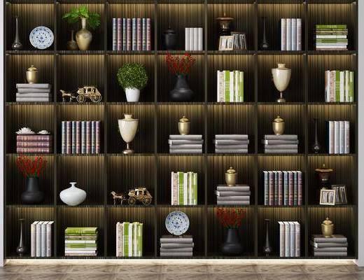 书柜书籍, 装饰柜组合, 摆件组合, 现代