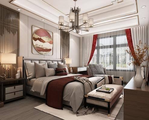 双人床, 吊灯, 装饰画, 床尾踏, 窗帘, 电视柜, 床头柜, 台灯