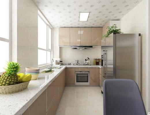 现代, 厨房, 冰箱, 洗手台, 油烟机, 厨房用品