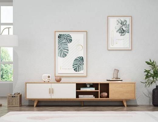 电视柜, 挂画, 装饰画, 置物柜