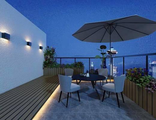 阳台露台, 餐桌, 餐椅, 单人椅, 植物, 壁灯, 现代