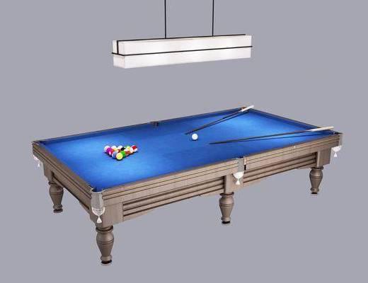 台球桌, 吊灯, 球台球杆, 现代