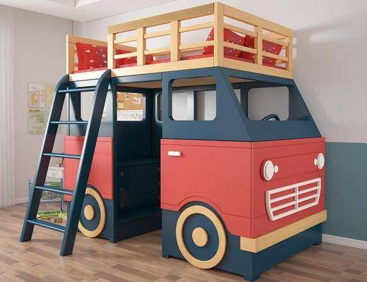 儿童床, 单人床, 装饰画, 挂画, 现代