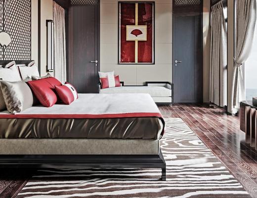 新中式, 卧室, 床具组合