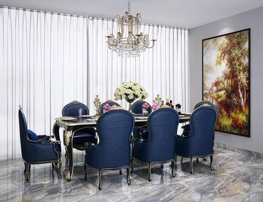 欧式餐桌椅, 餐桌椅, 桌椅组合